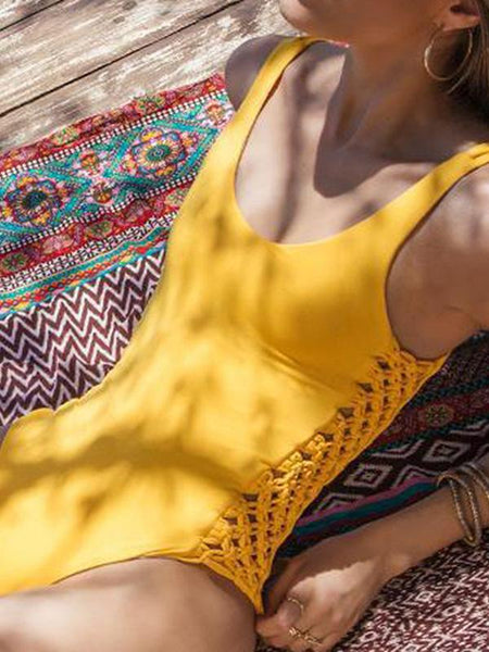 Plain Yellow Hollow One-piece Swimsuit