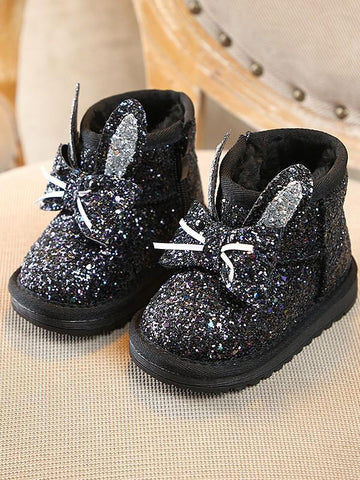 Black Round Toe Sequin Fashion Ankle Boots