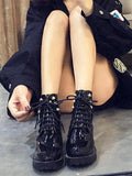 Black Round Toe Chunky Rhinestone Fashion Ankle Boots