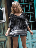Fashion Loose Half Sleeve Round Neck Tassel Lace-Up T-Shirt Tops
