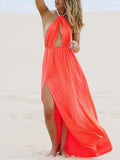 Halterneck Backless Split Bohemia Maxi Dress