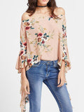 Popular Fashion Floral-Print Off-Shoulder Long Sleeve T-Shirts Tops