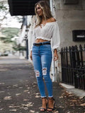 Off-the-shoulder Ruffled Long Sleeves Tops