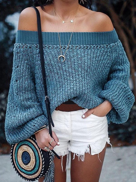 Off-the-shoulder Knitting Puff Sleeves Sweater Tops