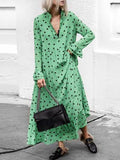 Polka-dot Long Sleeves Maxi Dress