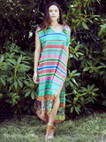 V-neck Multicolor Stripes Short Sleeves Cover-Ups