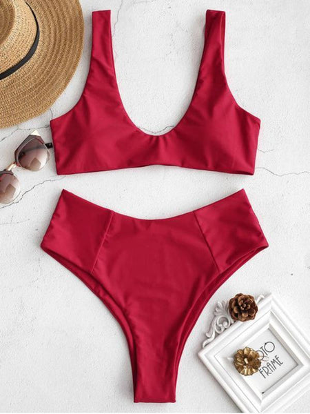 High Cut Solid Bikinis Swimwear