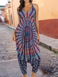 Floral Printed Spagetti-neck Loose Long Jumpsuits