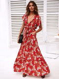 Summer print V-neck Bow-embellished Maxi Dresses