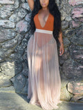 Apricot Grenadine Pleated Sheer Party Clubwear Long Skirt