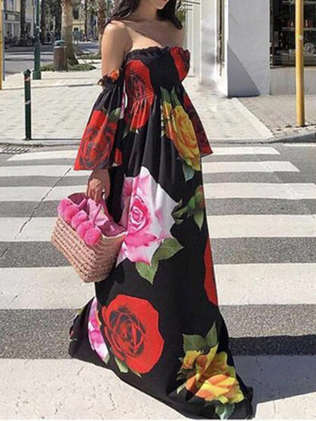 Floral Off Shoulder Maxi Dress