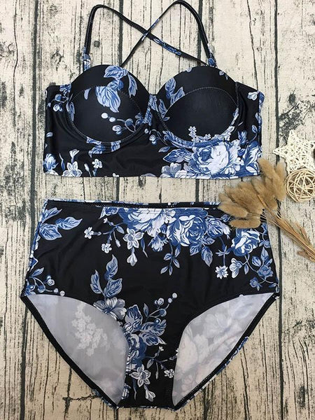High Wasted Bandeau Bikini Set