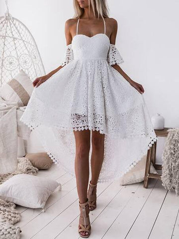 Cropped Lace Hollow Solid Midi Dresses