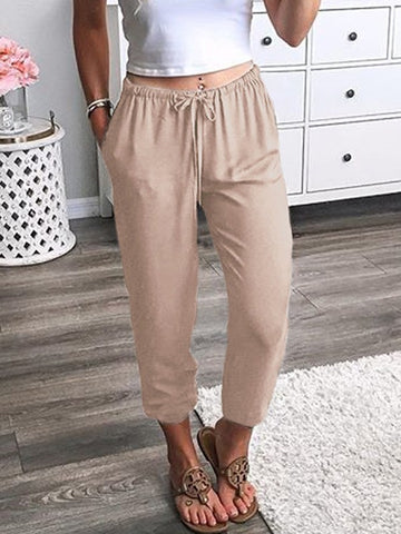 Beige Pockets Drawstring Mid-rise Fashion Nine's Pants