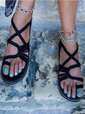 Black Almond Toe Flat Braided Strap Beach Shoes