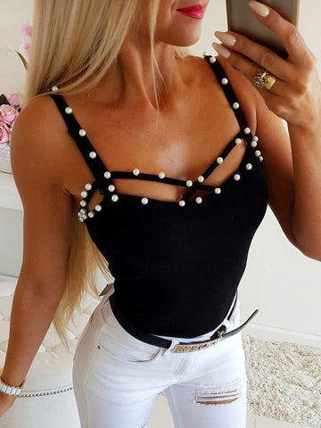 Black Beading Cut Out V-neck Fashion Vest