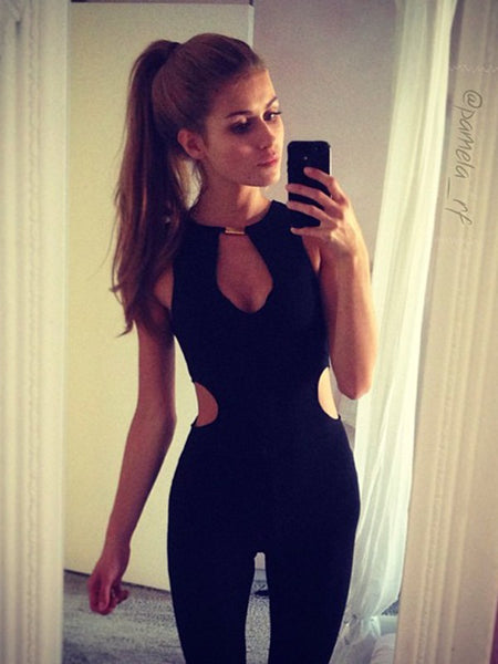 Black Cut Out One Piece Bodycon Going out Playsuits&jumpsuit
