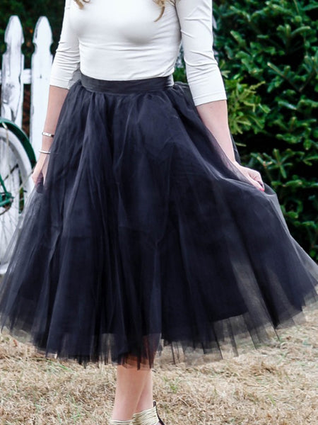 Black Grenadine Pleated High Waisted Tulle Tutu Fashion Skirt