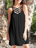Black Neckline Cross Spaghetti Strap Backless Fashion Beach Mini Dress