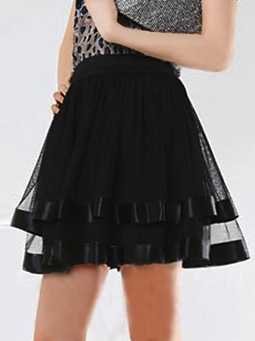 Black Patchwork Grenadine Pleated High Waisted Tulle Tutu Party Clubwear Mini Skirt
