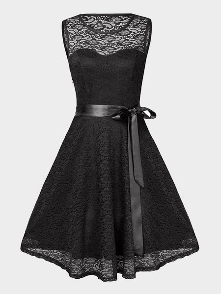 Black Patchwork Lace Bow Sashes Round Neck Sleeveless Midi Dress