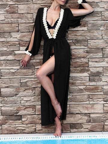 Black Patchwork Lace Cut Out Drawstring Long Sleeve Bohemian Beach Smock Cardigan Kimono Cover Up