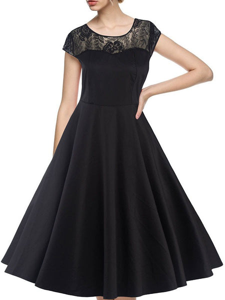 Black Patchwork Lace Draped A-Line Round Neck Short Sleeve Elegant Midi Dress