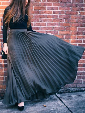 Black Patchwork Pleated High Waisted Flowy Big Swing Bohemian Skirt
