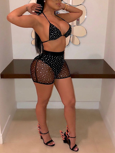 Black Patchwork Sequin Grenadine V-neck Bra Lace-up Two Piece High Waisted Clubwear Glitter Sparkly Birthday Party Short Jumpsuit Pants