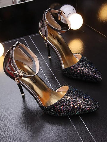 Black Point Toe Stiletto Ankle Strap Gliter Sequin Rhinestone Fashion Party High-Heeled Sandals
