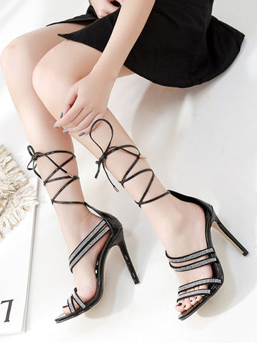 Black Round Toe Stiletto Rhinestone Sparkly Ankle Strap Fashion Party Plus Size High-Heeled Sandals