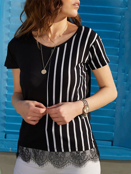 Black Striped Lace Short Sleeve Fashion T-Shirt