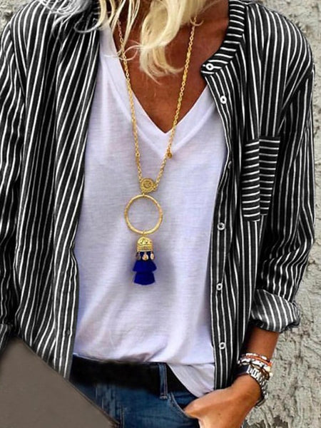 Black-White Striped Pockets Single Breasted V-neck Long Sleeve Fashion Blouse