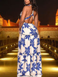 Blue Floral Print Bohemian Shoulder-Strap Deep V-neck Bandage Beach Maxi Dress