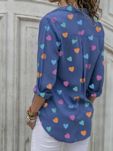 Blue Heart Print Single Breasted Turndown Collar Long Sleeve Fashion Blouse