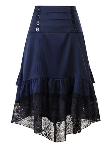 Blue Patchwork Lace Irregular Cascading Ruffle Draped High-Low Double Breasted High Waisted Going out Skirt