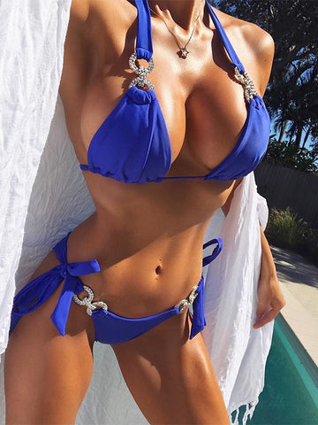Blue Patchwork Rhinestone Halter Neck 2-in-1 Fashion Bikini