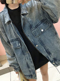 Blue Pockets Zipper Buttons Turndown Collar Long Sleeve Jeans Coat
