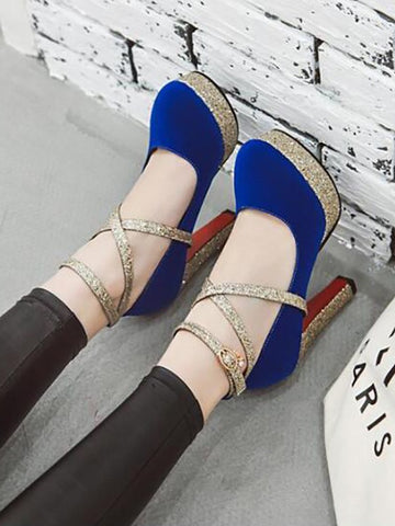Blue Round Toe Chunky Sequin Fashion High-Heeled Shoes