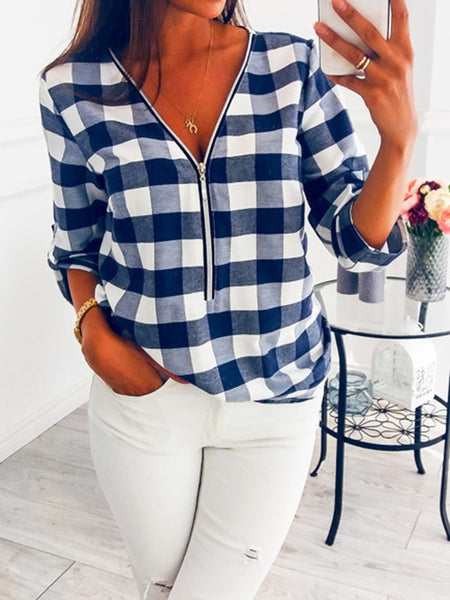 Blue-White Plaid Zipper V-neck Long Sleeve Fashion Blouse