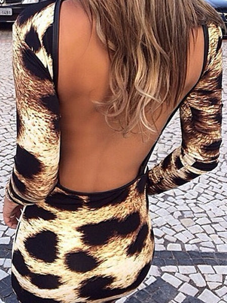 Brown Leopard Print Backless Long Sleeve Fashion Midi Dress