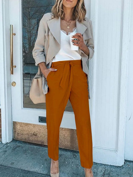 Brown Pockets High Waisted Fashion Long Pants