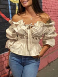 Buff Ruffle Lace-Up Off Shoulder Elbow Sleeve Going out Blouse