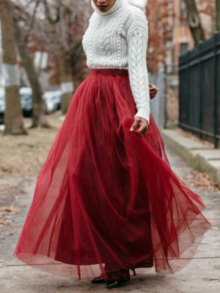 Burgundy Grenadine Floor Length High Waisted Puffy Tulle Tutu Vintage Wedding Long Skirt
