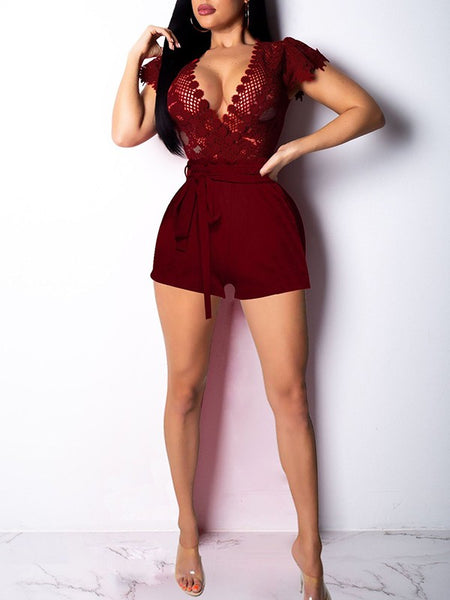 Burgundy Patchwork Lace Cut Out Belt Lace-up Deep V-neck Bodysuit Clubwear Short Sleeve Short Jumpsuit Pants