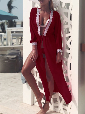 Burgundy Patchwork Lace Cut Out Drawstring Long Sleeve Bohemian Beach Smock Cardigan Kimono Cover Up