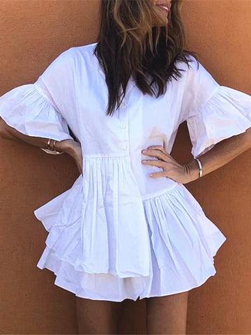 Casual Loose Ruffled Collar Mini Dresses