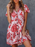 National printed Ruffled V-neck Mini Dresses