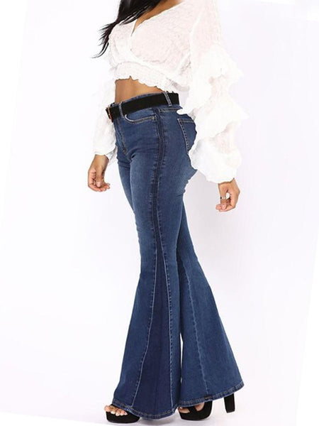 Dark Blue Draped High Waisted Bell Bottom Extreme Flare Long Jeans