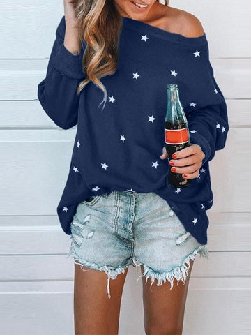 Dark Blue Floral Star Print Round Neck Long Sleeve Fashion T-Shirt